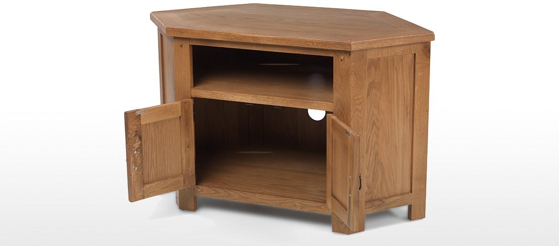 Rustic Oak Corner TV Cabinet