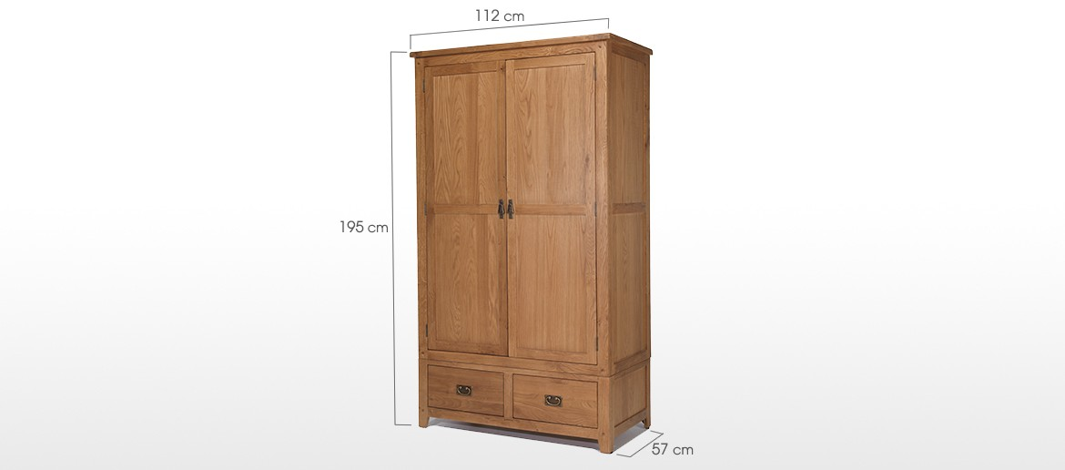Rustic Oak Gents Double Wardrobe