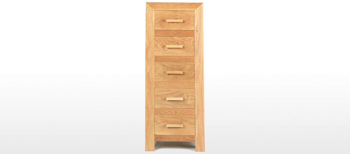 Cube Oak 5 Drawer Tall Chest of Drawers
