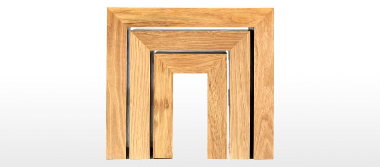 Cube Oak Nest of 3 Tables