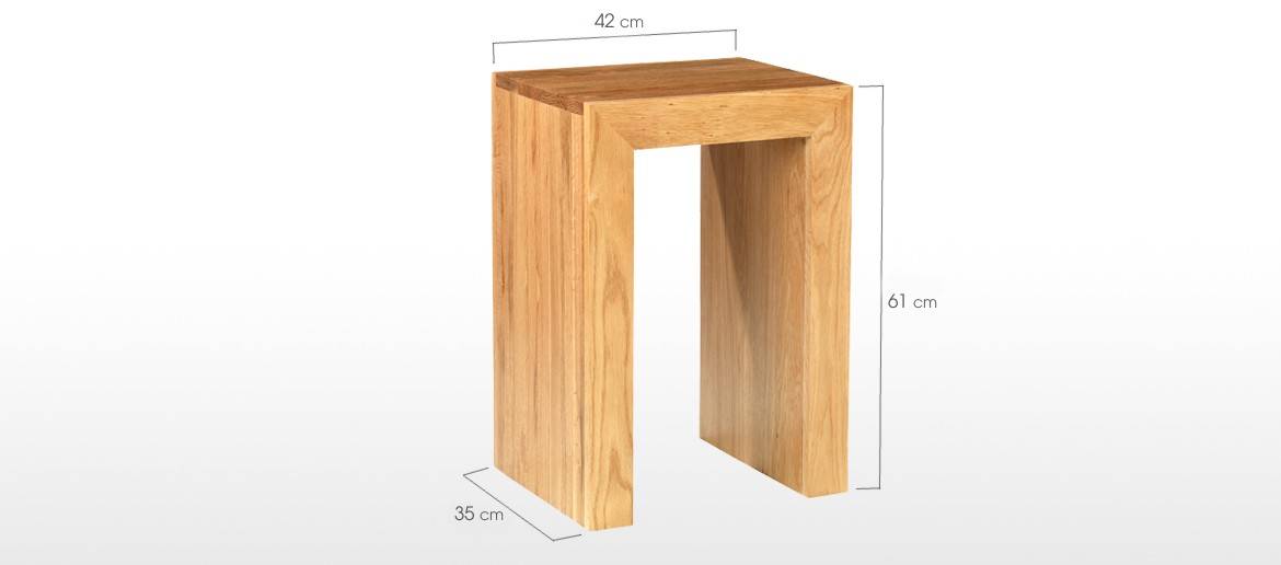Cube Oak Open Bedside Nightstand