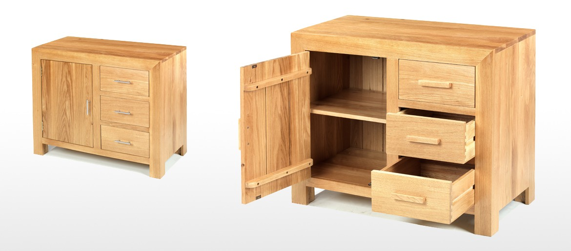 Cube Oak Small Sideboard
