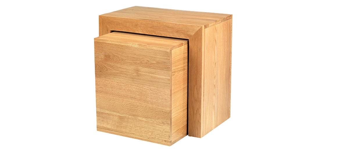 Cube Oak Cube Nest of Tables