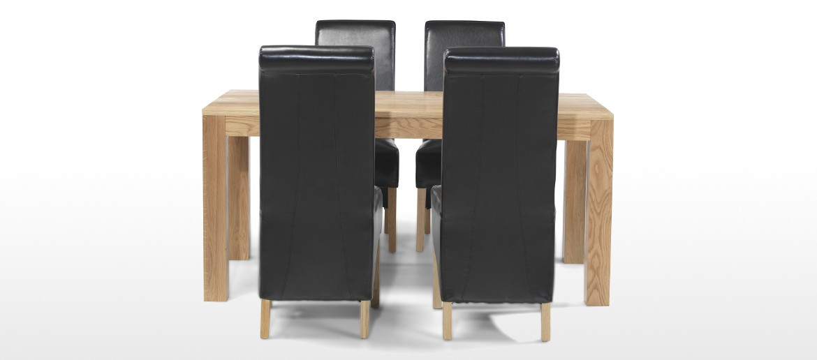 Cube Oak 160 cm Dining Table and 4 Chairs