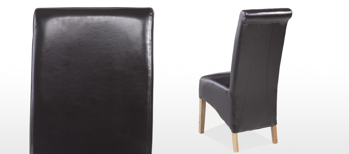 Cube Oak Bonded Leather Dining Chairs Brown - Pair