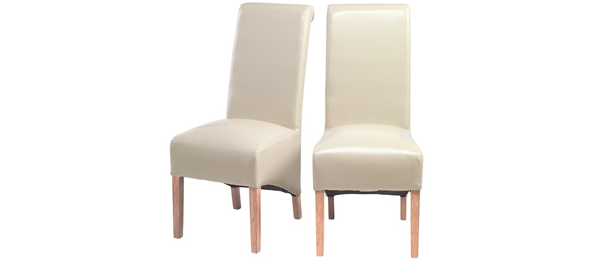 Cube Oak Bonded Leather Dining Chairs Biege - Pair