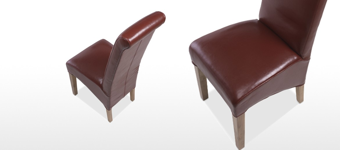 Cube Oak Bonded Leather Dining Chairs Red - Pair
