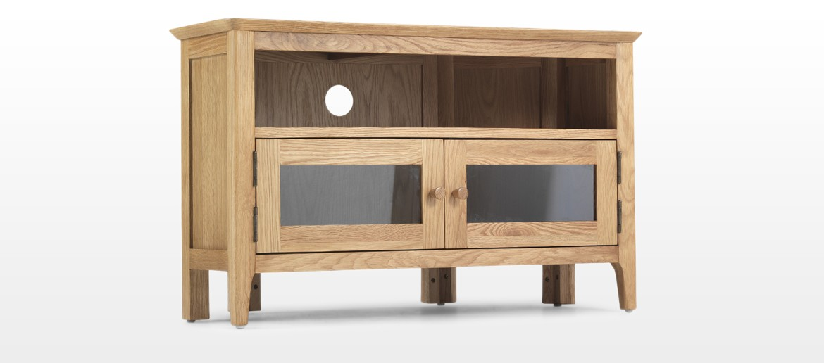 Hayman Oak Corner TV Unit with Doors