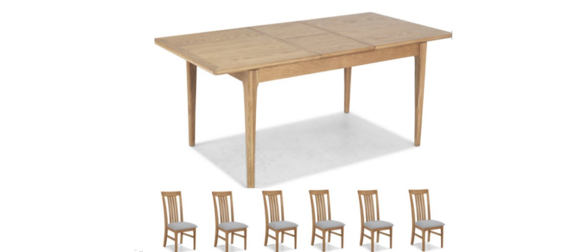 Hayman Oak 140/180cm Extended Dining Table and 6 Chairs