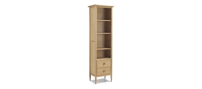 Skiena Oak Slim Bookcase With Drawer