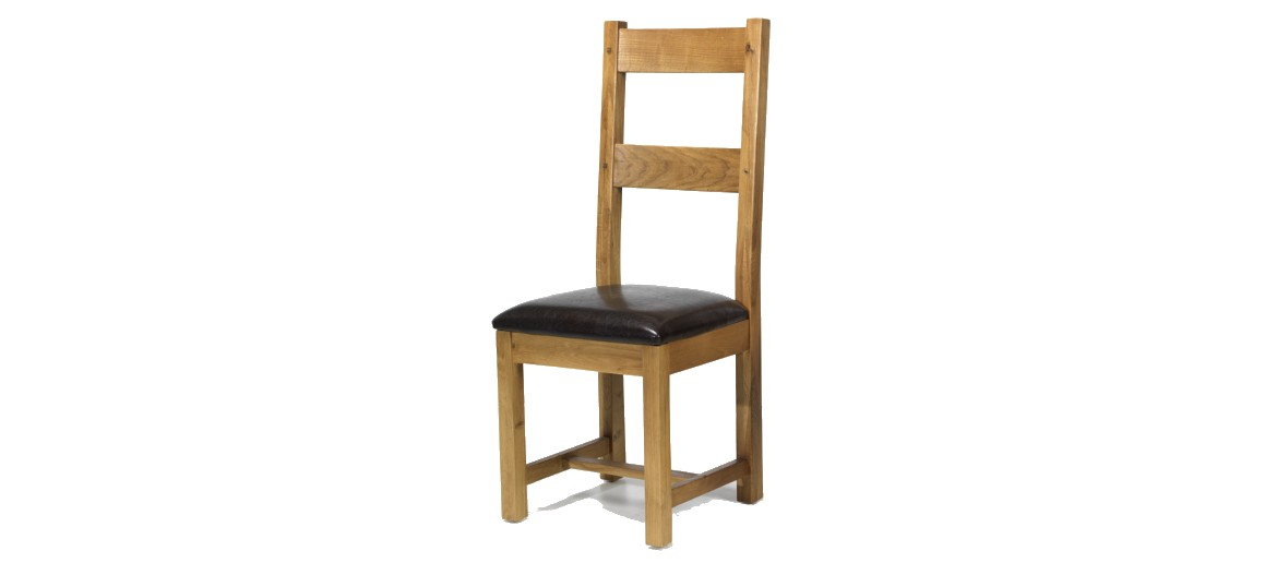Rustic Oak Dining Chairs - Pair