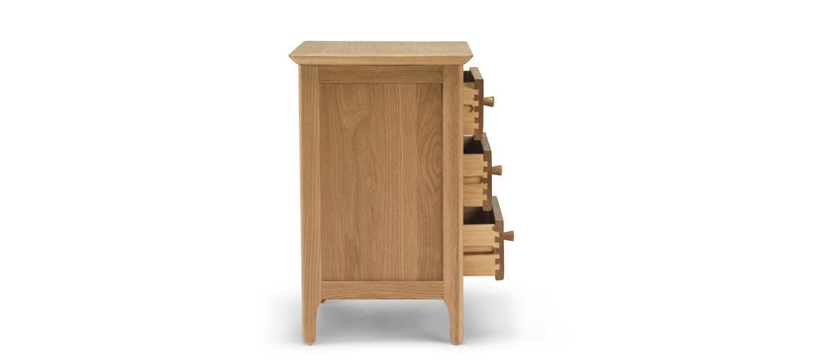 Kassay Oak 3 Drawer Bedside Cabinet