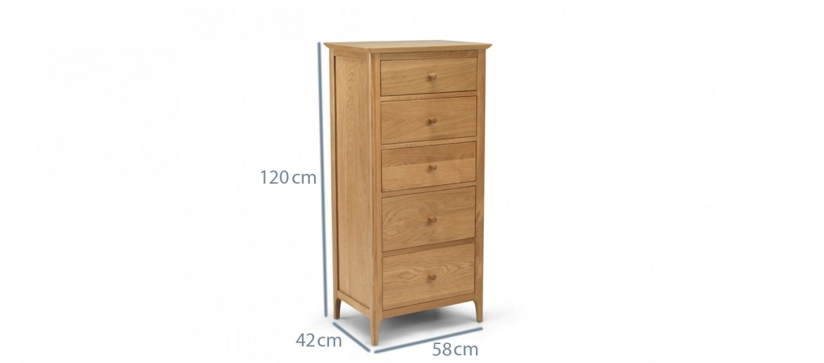 Kassay Oak 5 Drawer Tall Chest Of Drawers