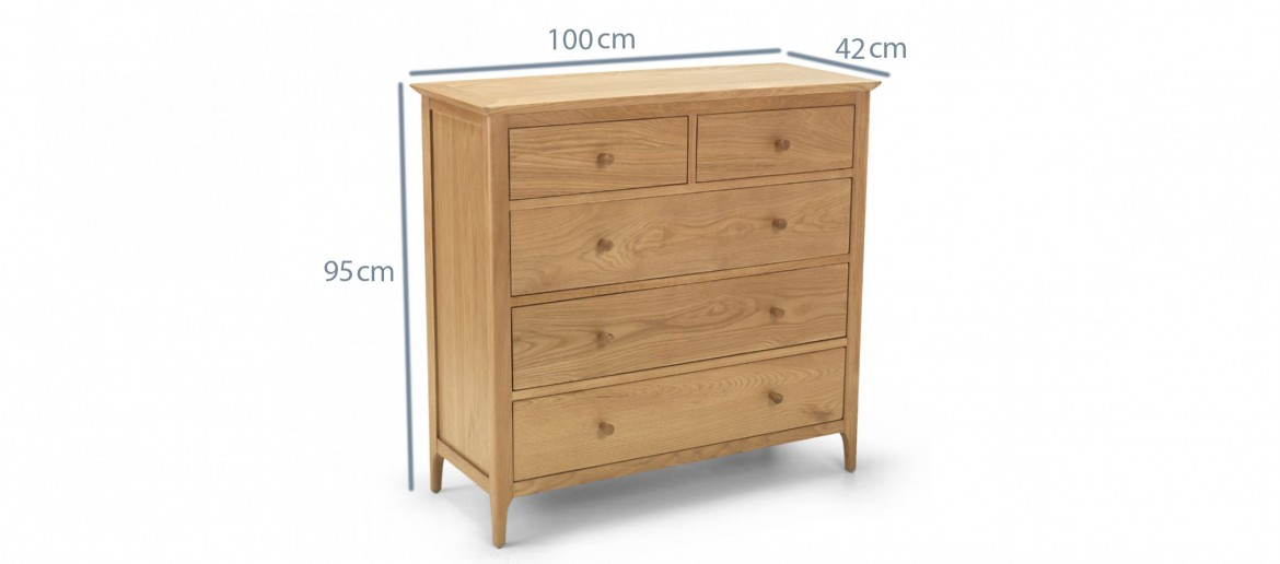 Kassay Oak 2 over 3 Chest of Drawers