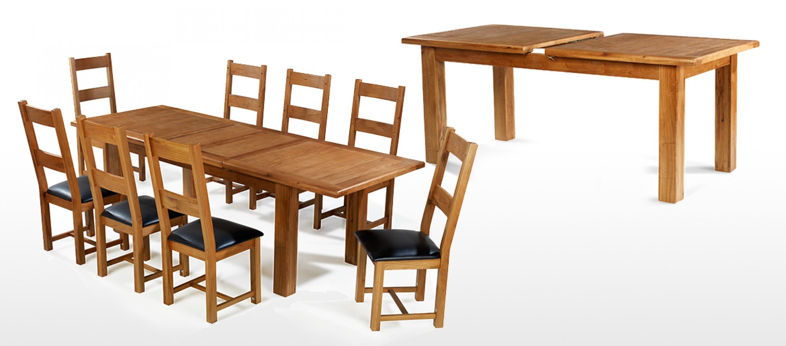 Barham oak 180 250 cm extending dining table and 8 chairs for Extending dining table and chairs