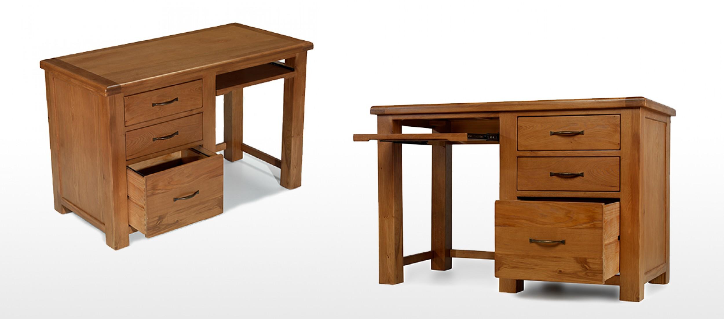 Barham oak office desk quercus living - Oak office desk ...