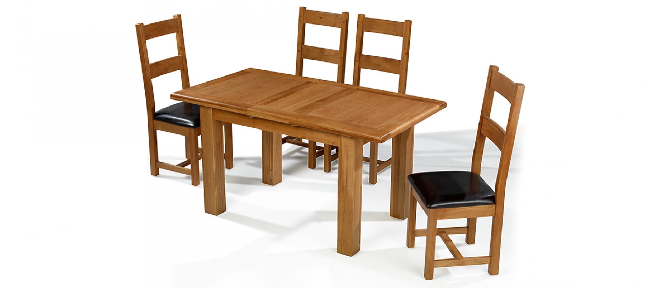 Barham oak 120 150 cm extending dining table and 4 chairs for Extending dining table and chairs