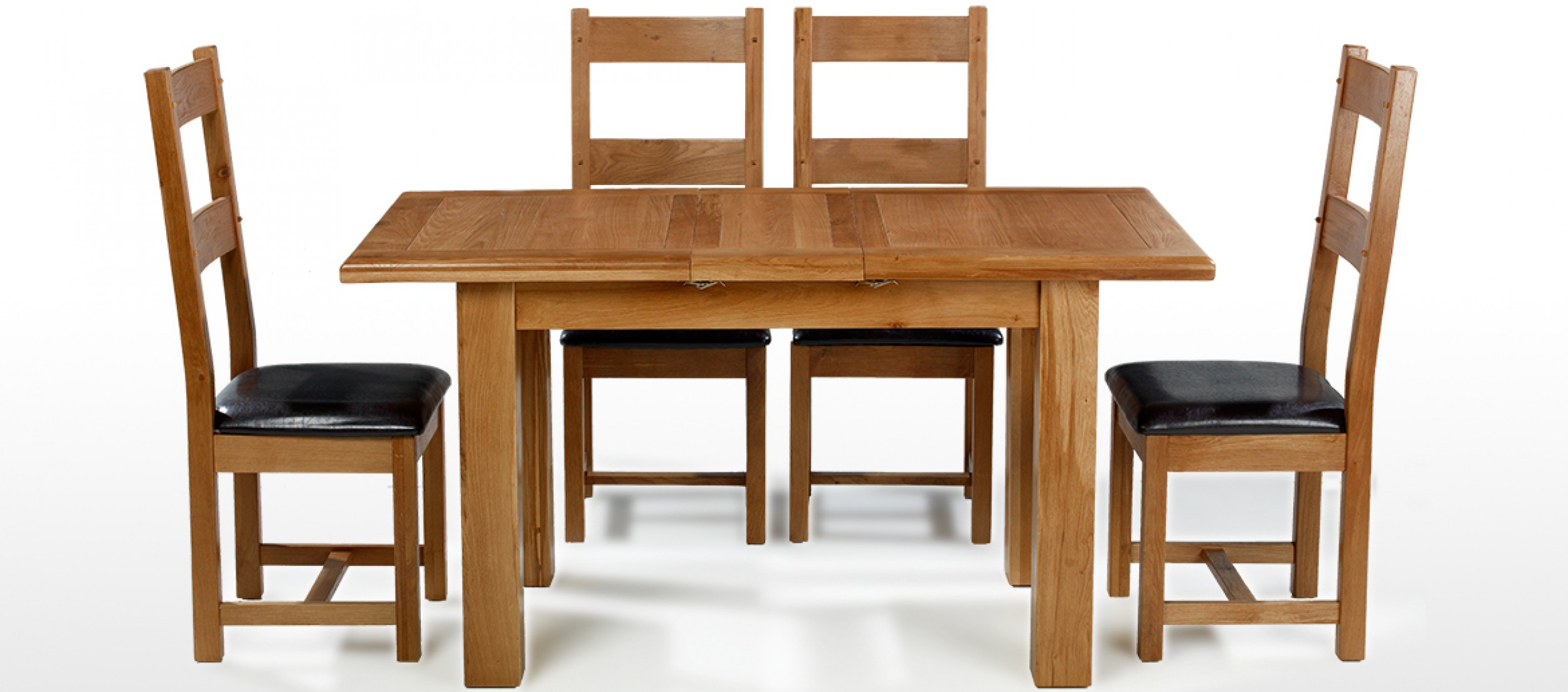 Barham Oak 120-150 cm Extending Dining Table and 4 Chairs ...