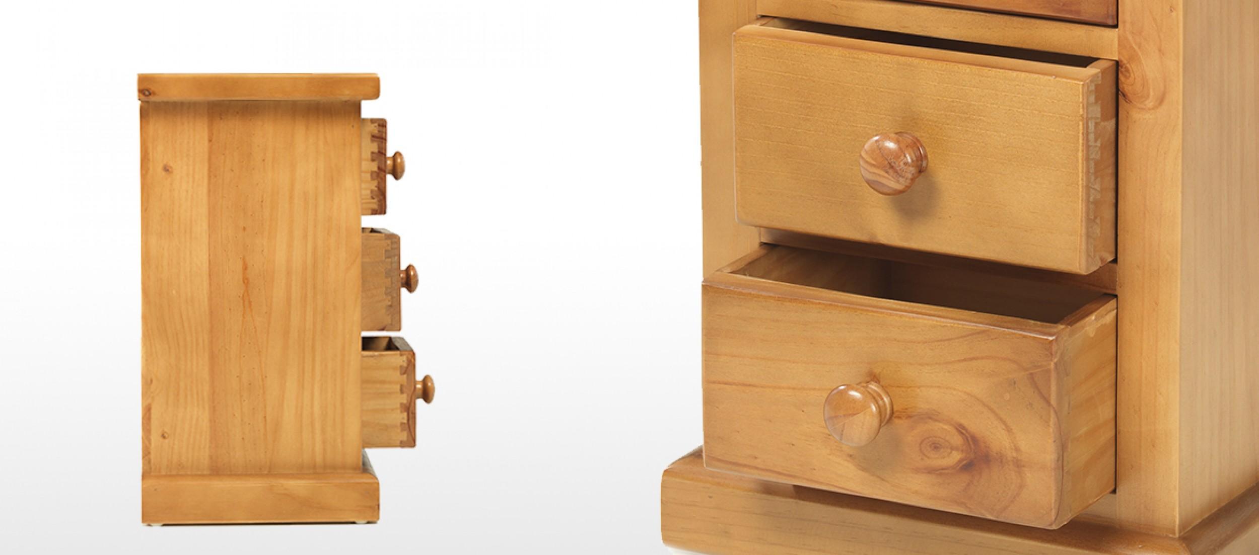 Devon Pine 3 Drawer Bedside Cabinet