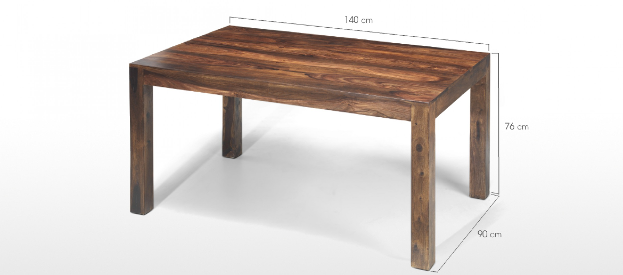 Cube sheesham 140 cm dining table quercus living for Dining table length