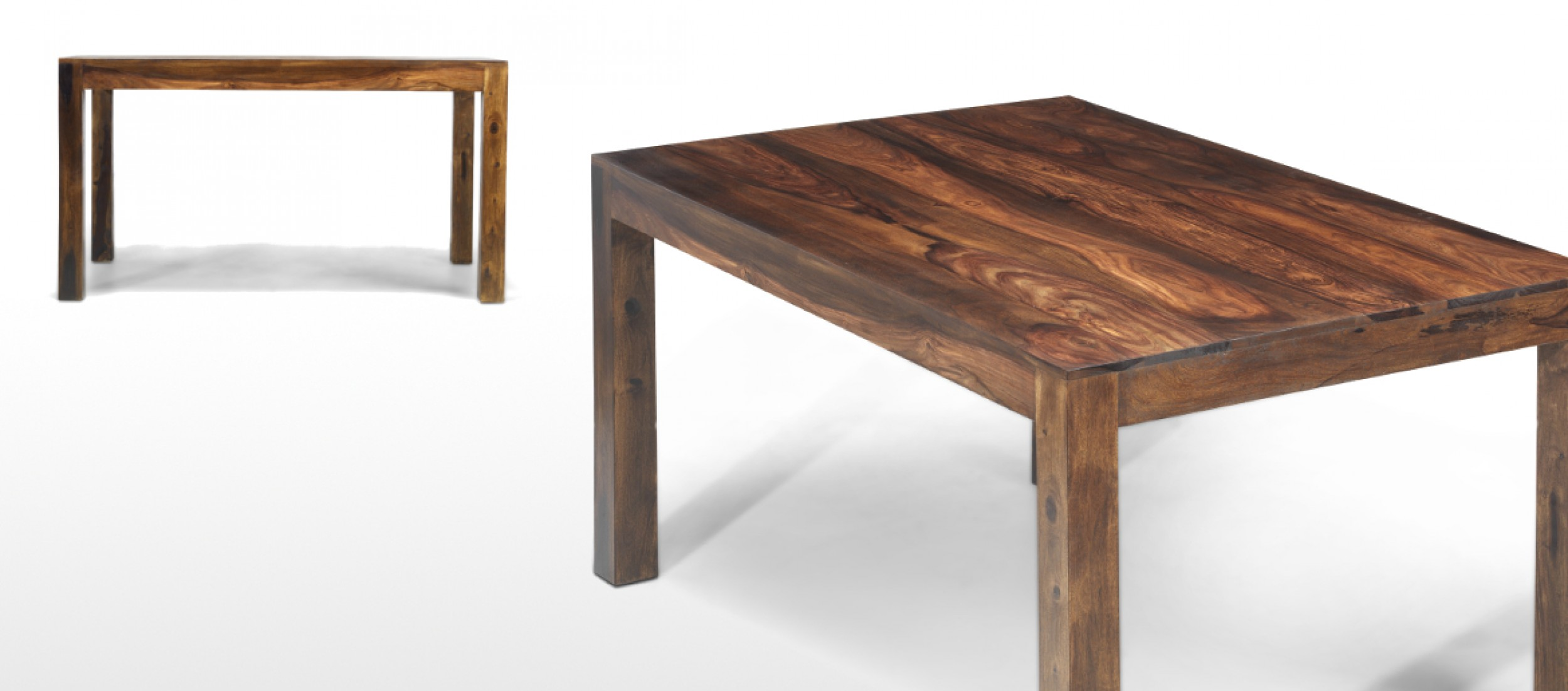 Cube sheesham 140 cm dining table quercus living for Sheesham dining table