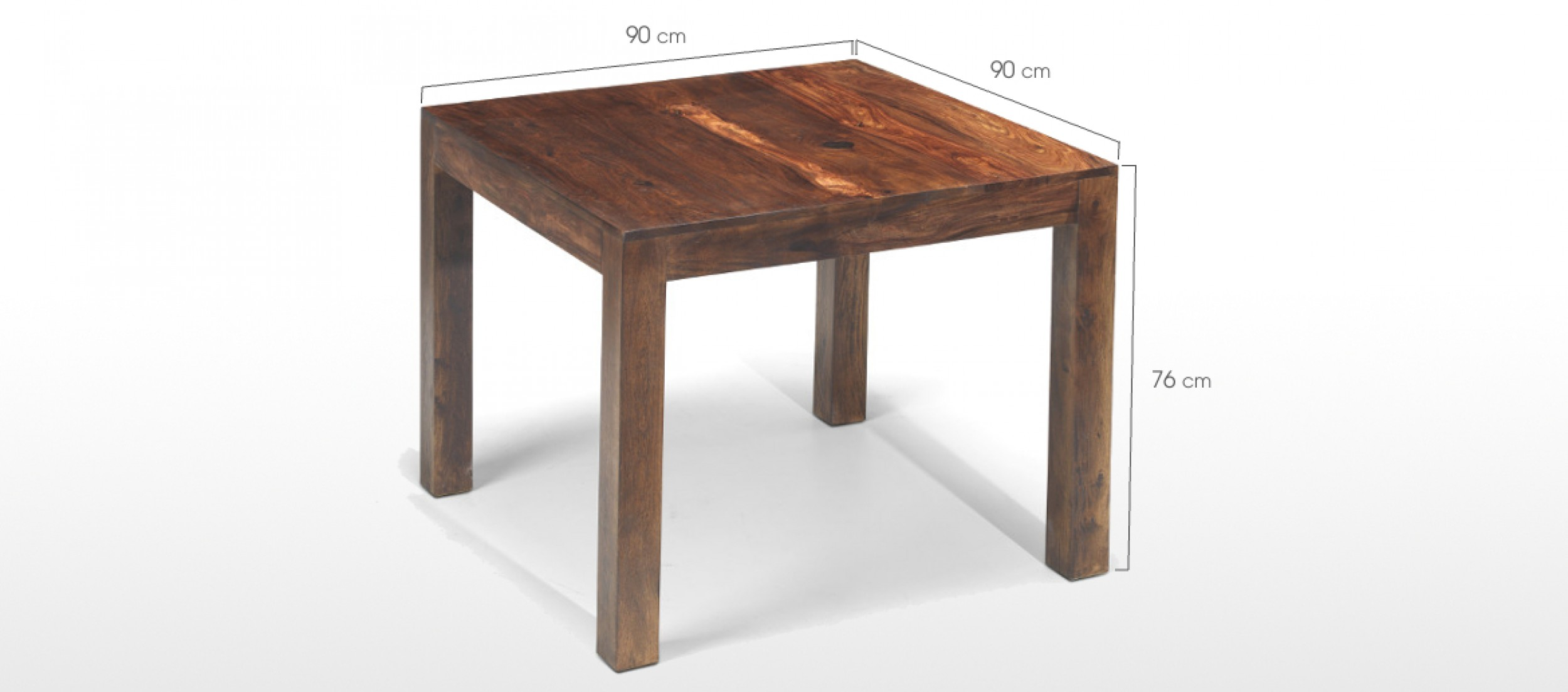 Cube sheesham 90 cm dining table quercus living for Dining table specifications