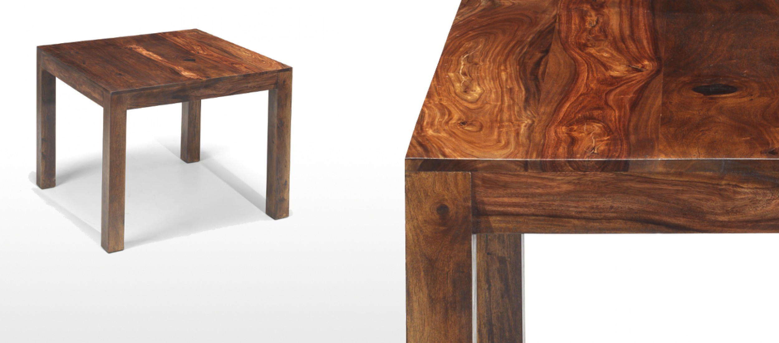 Cube sheesham 90 cm dining table quercus living for Sheesham dining table