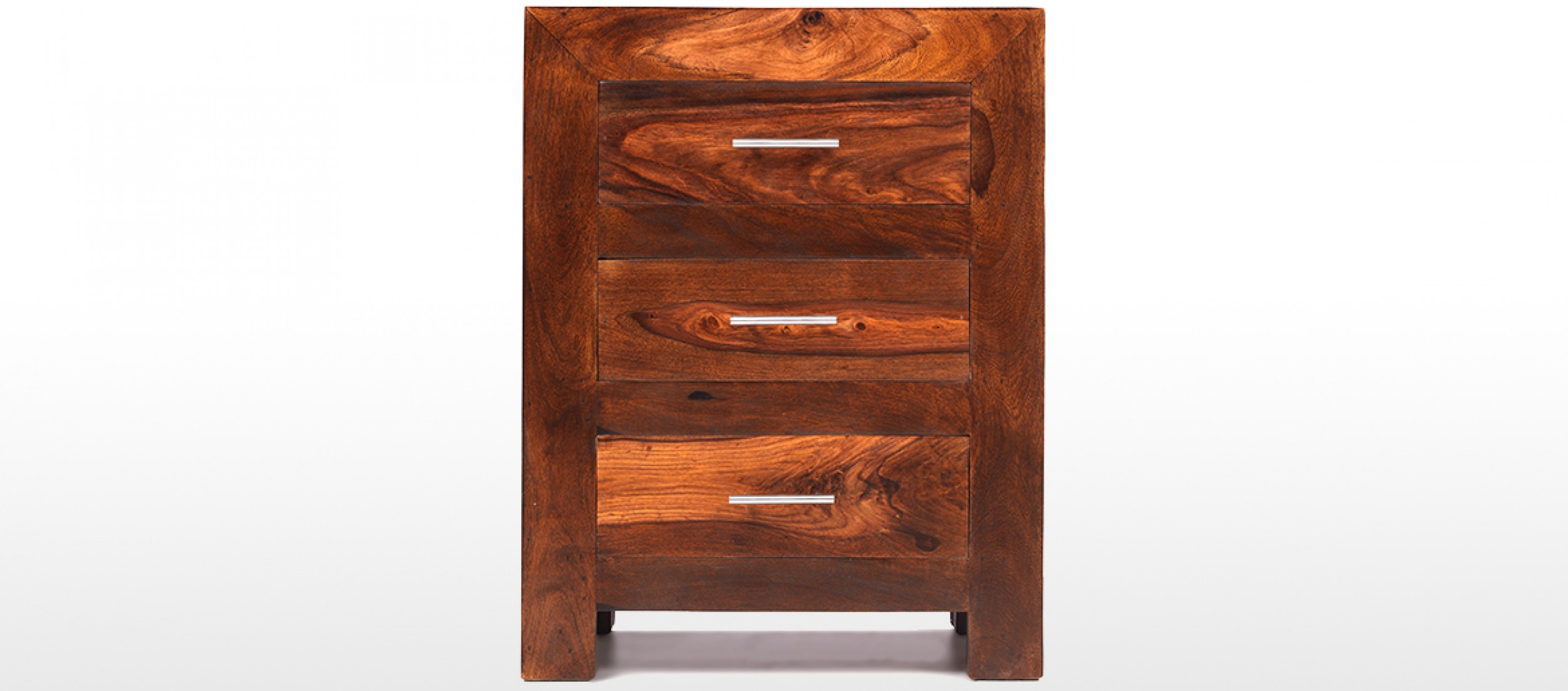 Cube Sheesham 3 Drawer Bedside Cabinet | Quercus Living