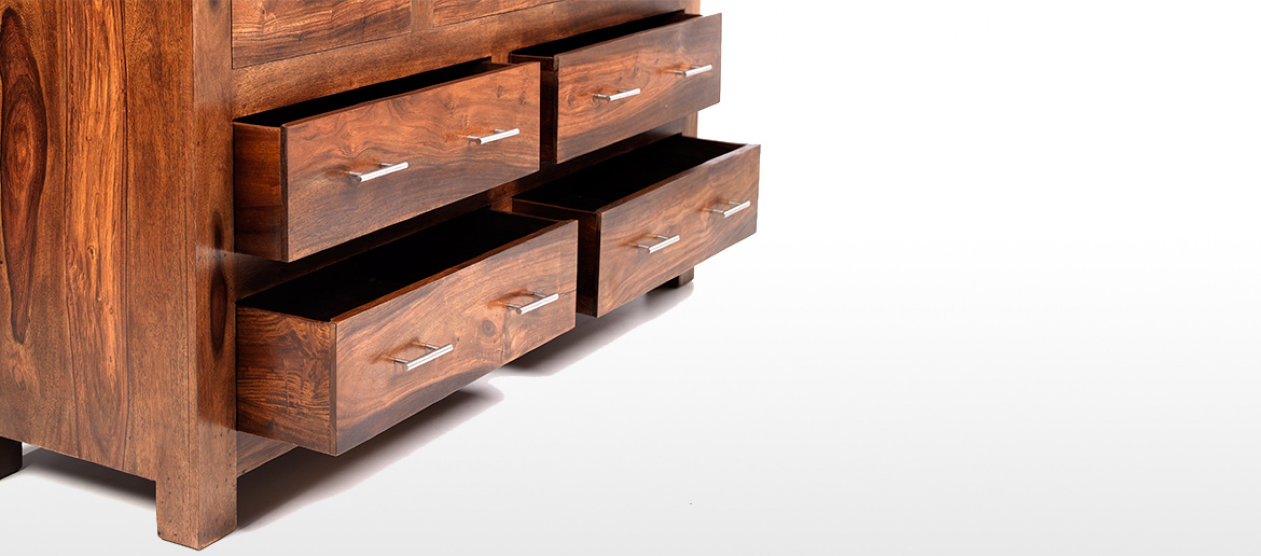 Cube sheesham drawer chest of drawers quercus living