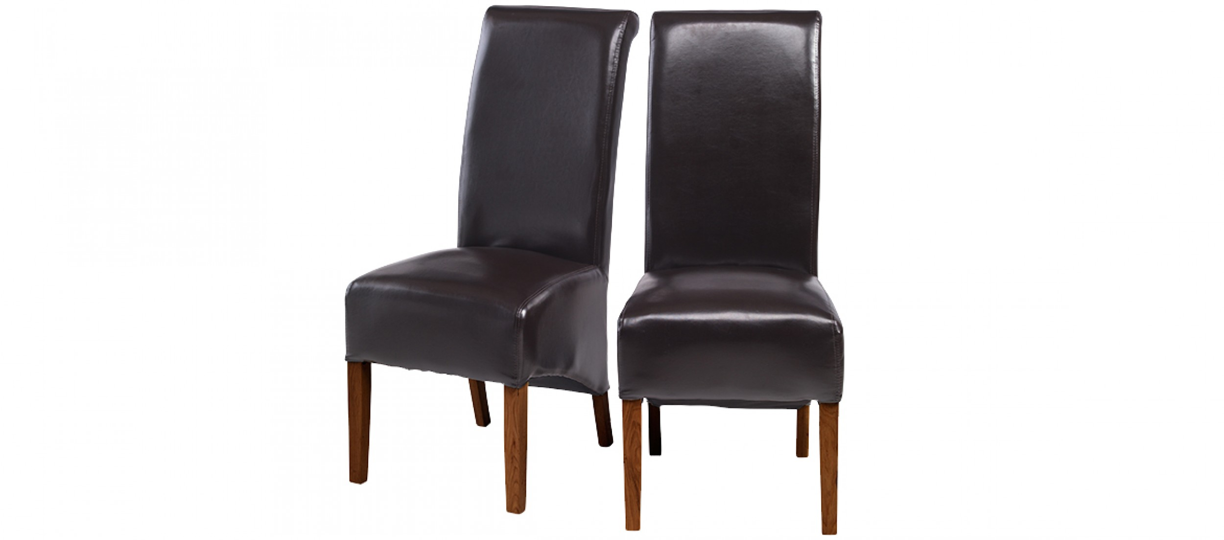 Cube bonded leather dining chairs brown pair quercus for Dining seats