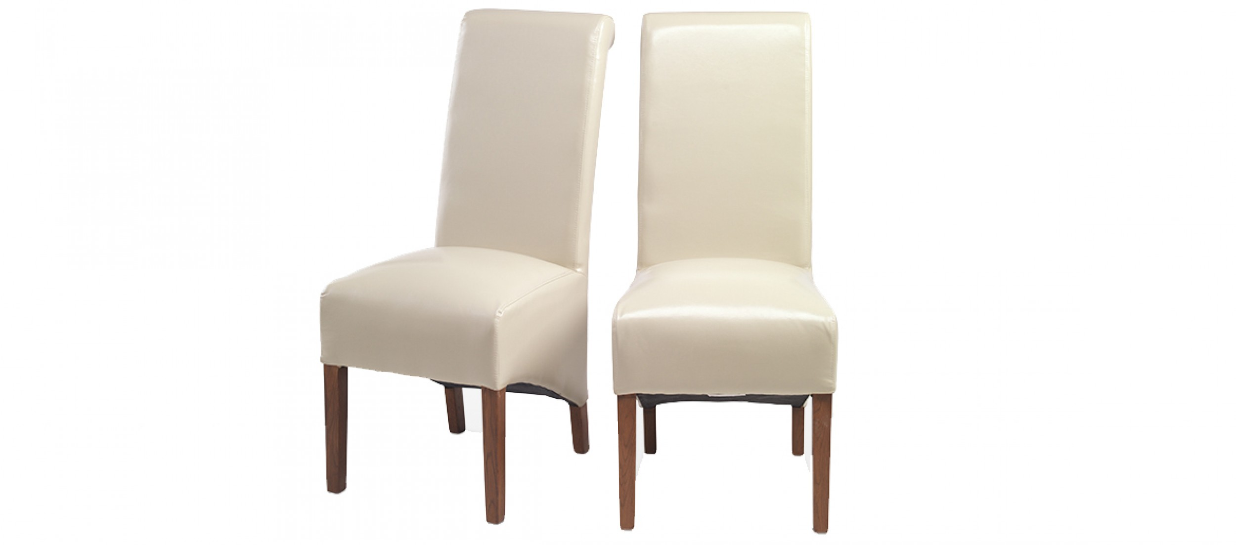Cube Bonded Leather Dining Chairs Beige Pair