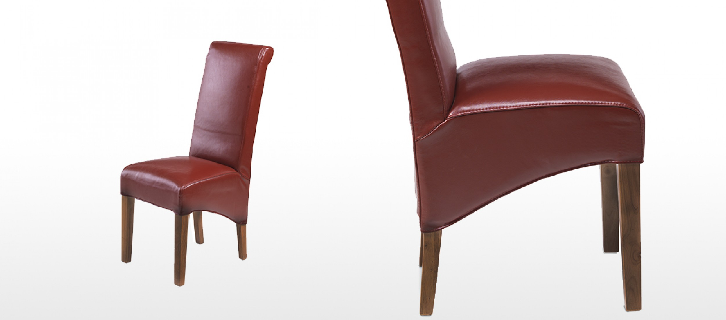 Cube Bonded Leather Dining Chairs Red Pair