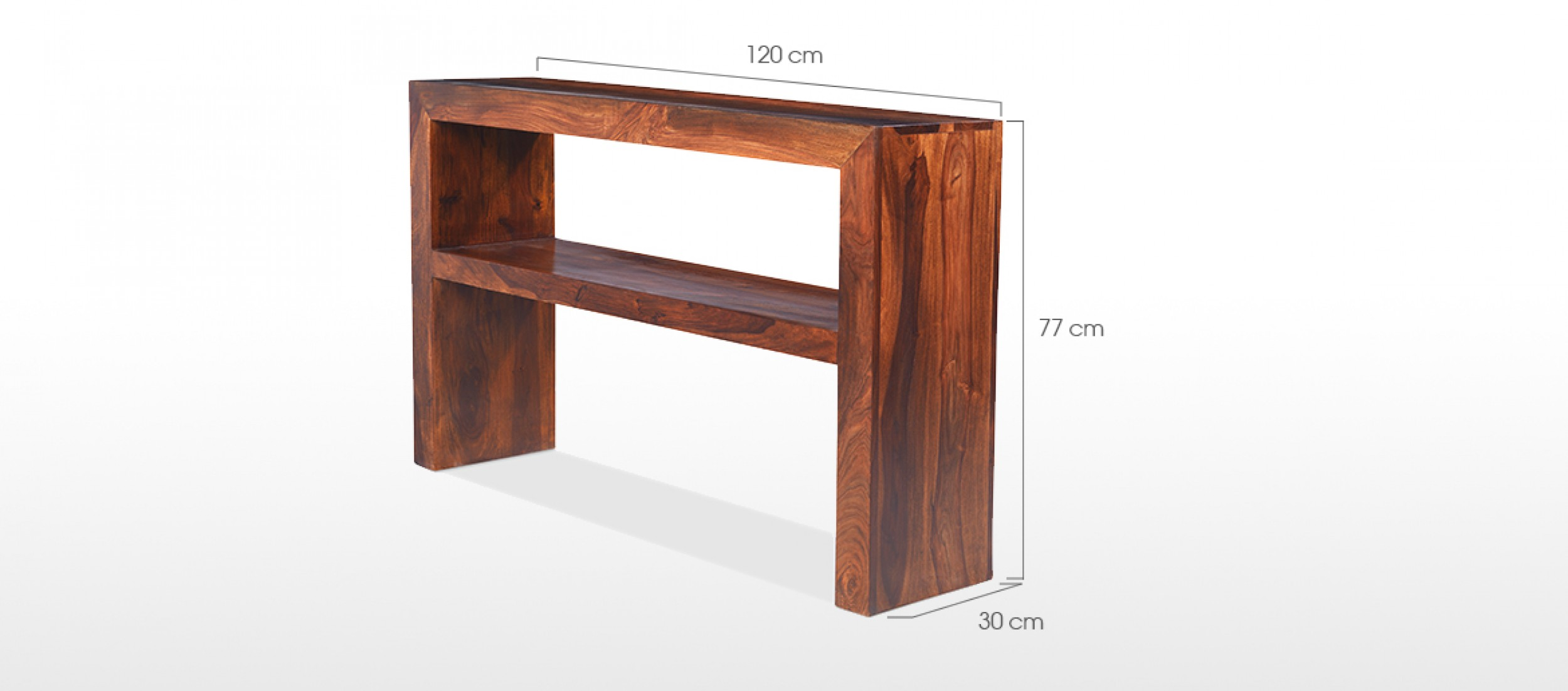 Cube sheesham console table quercus living for Table design 90 cm
