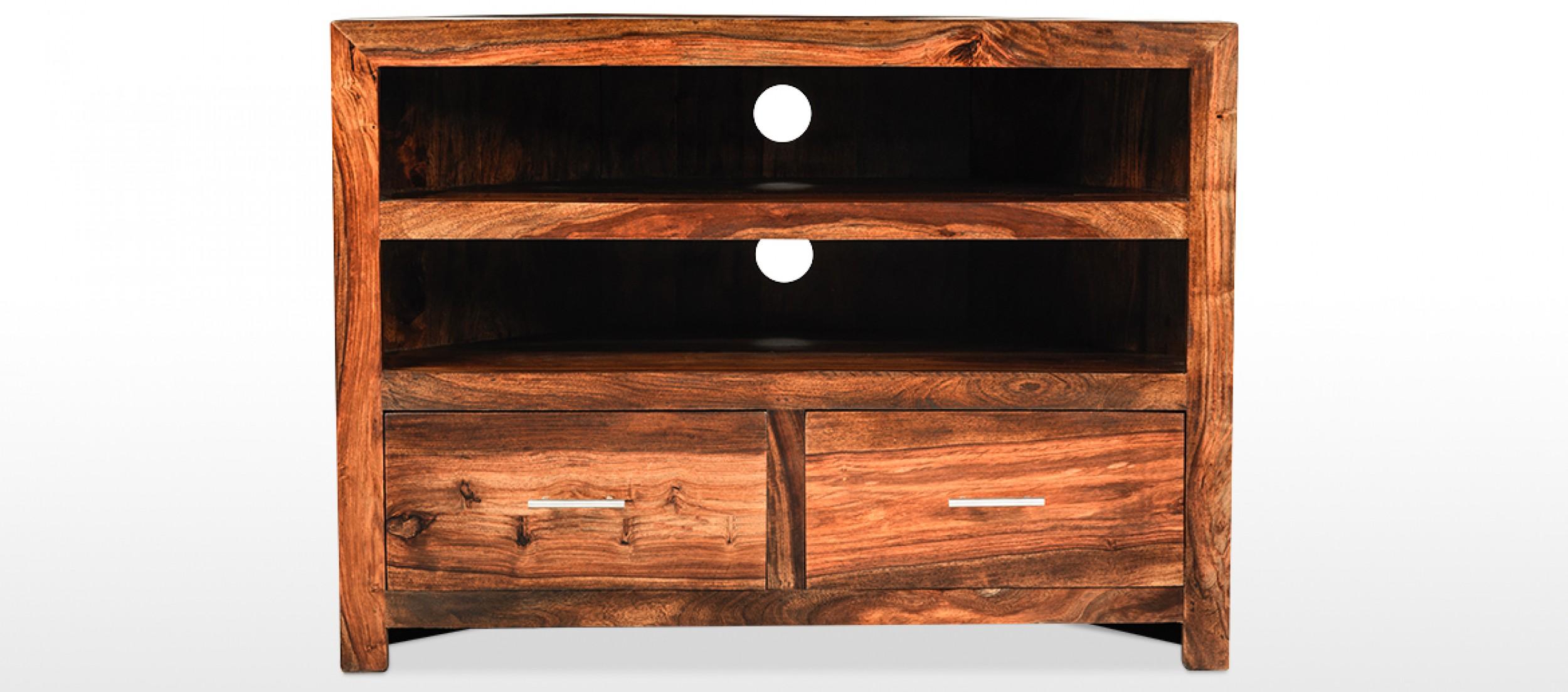 Cube Sheesham Corner Tv Cabinet Quercus Living