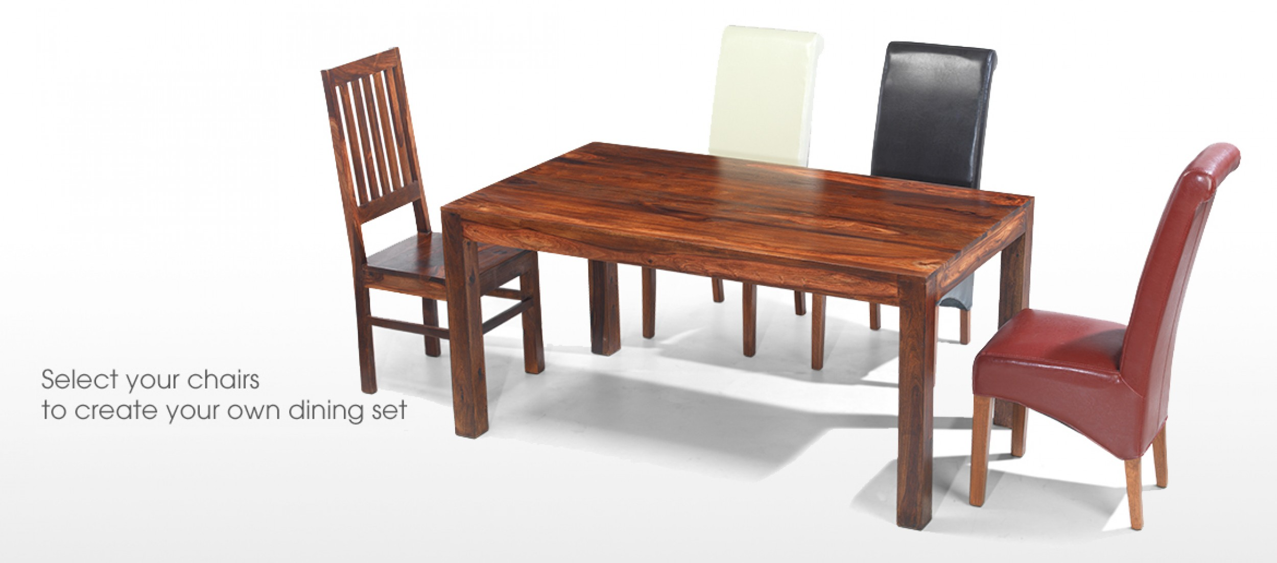 Cube sheesham 140 cm dining table and 6 chairs quercus for Sheesham dining table