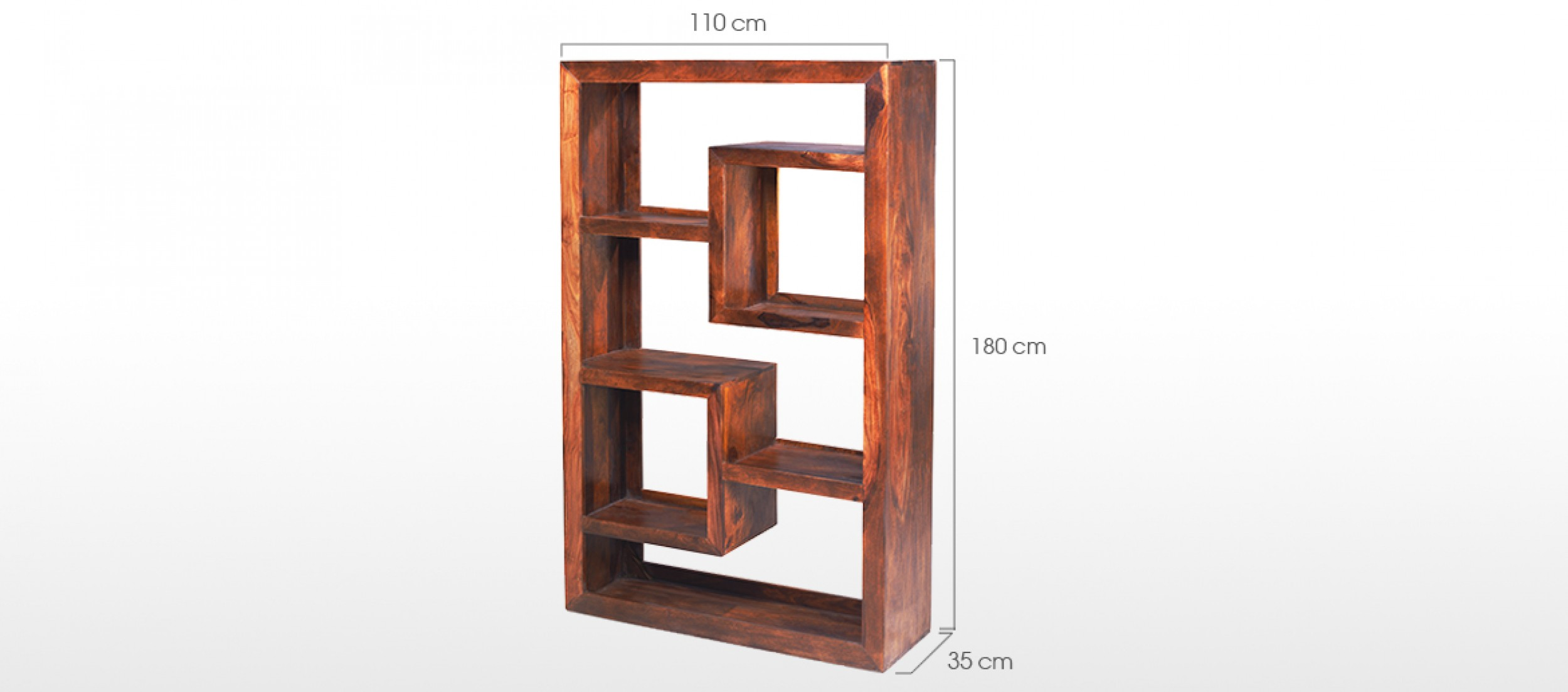 Cube Sheesham Geometric Bookcase  Quercus Living