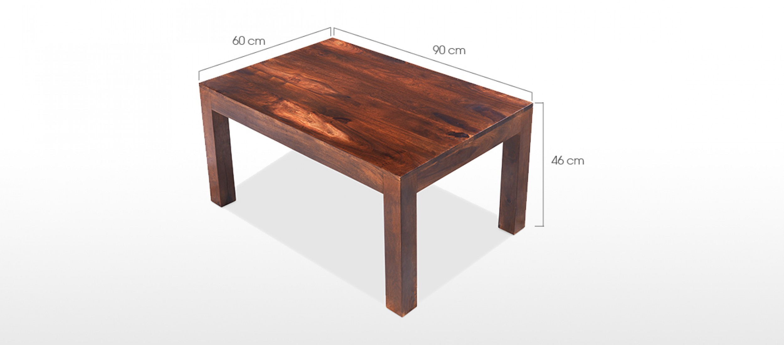 Cube sheesham 90 cm coffee table quercus living for Table induction 90 cm