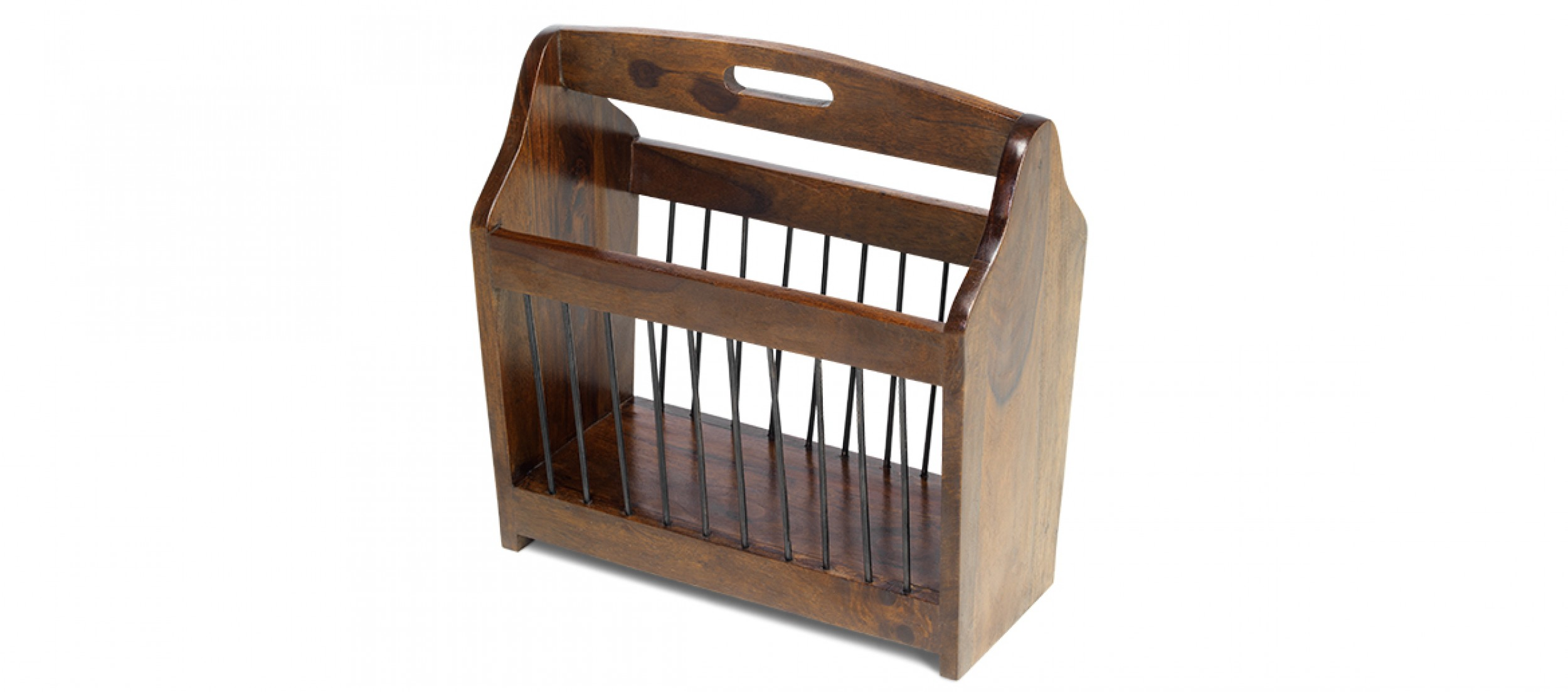Cube sheesham magazine rack quercus living for Magazine racks for home