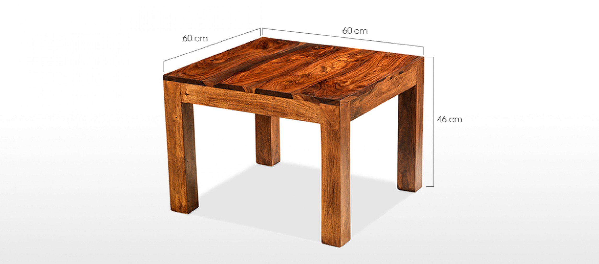 Cube sheesham 60 cm coffee table quercus living for Coffee table dimensions design
