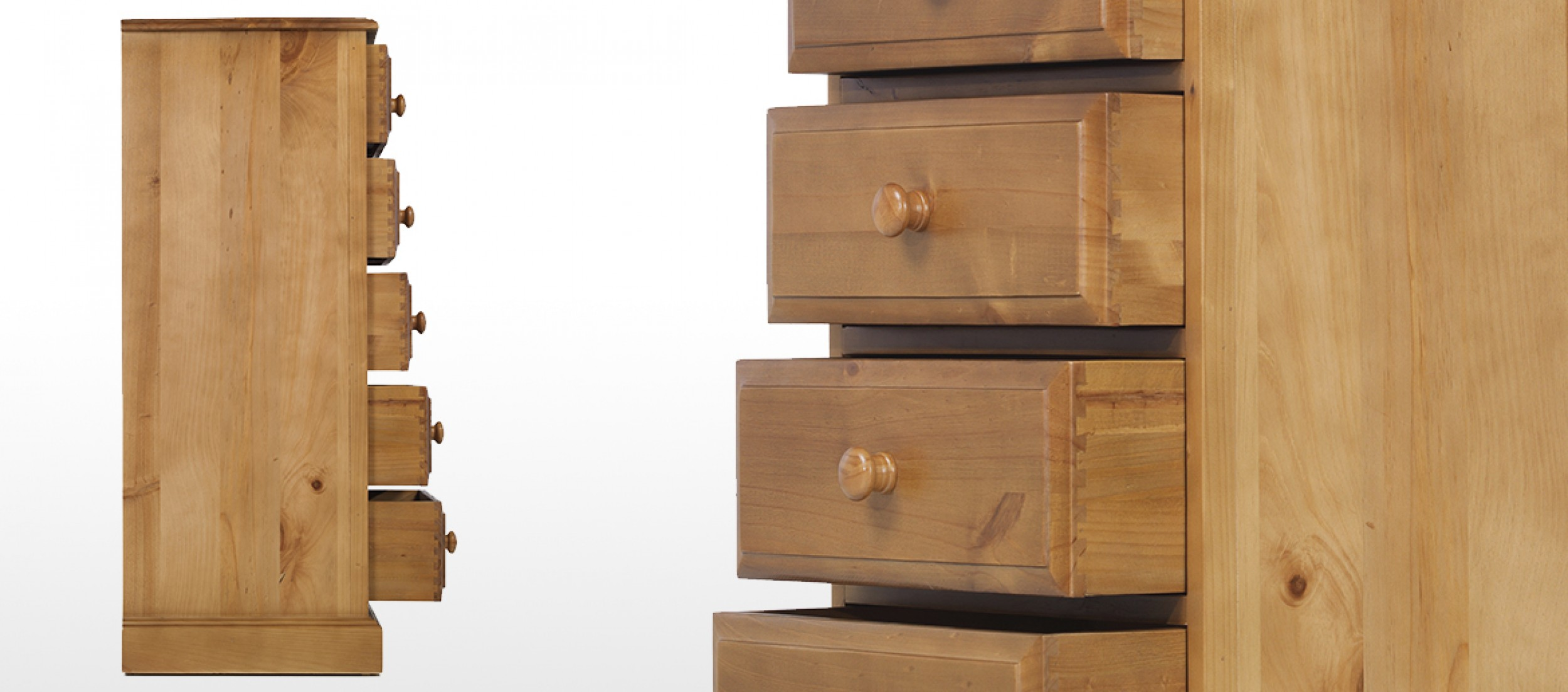 Essentials Pine 5 Drawer Tall Chest Of Drawers Quercus