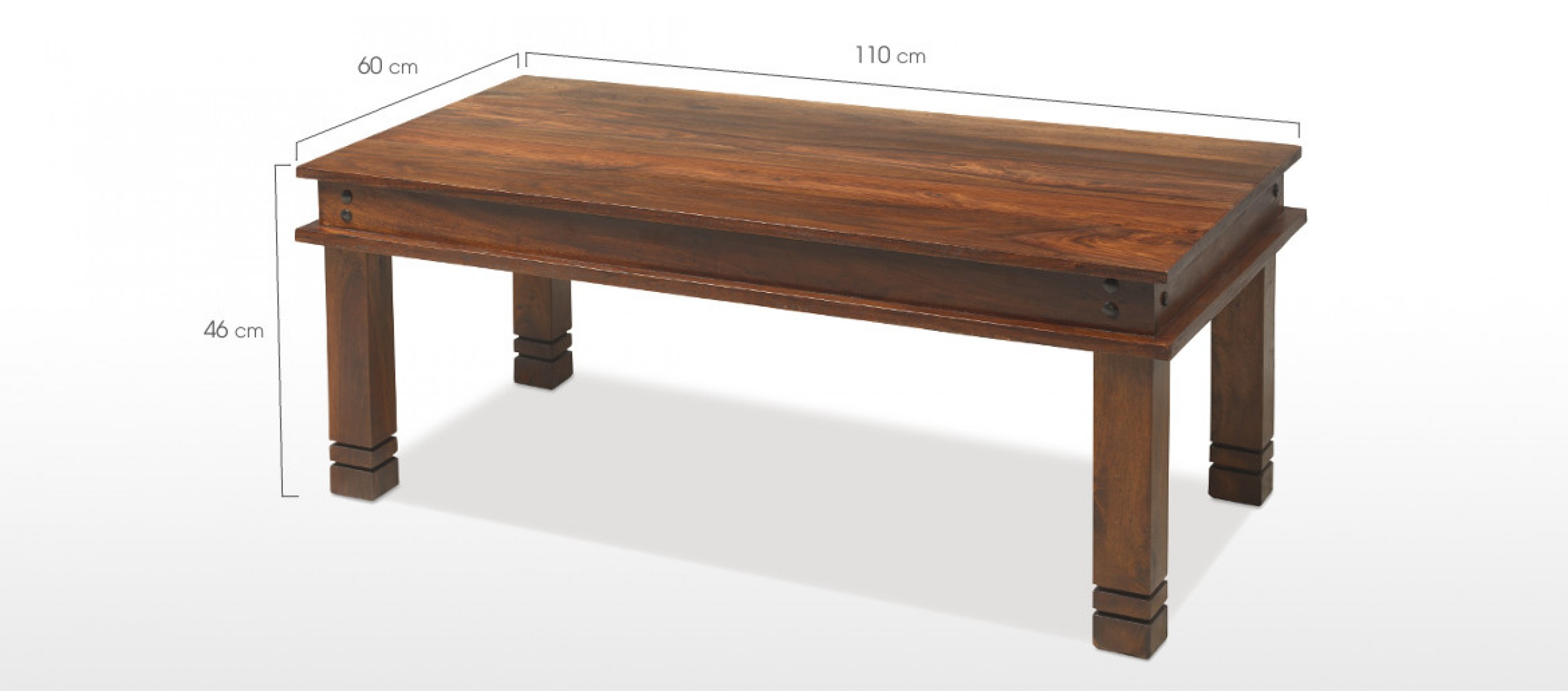 Jali Sheesham 110 Cm Chunky Coffee Table Quercus Living