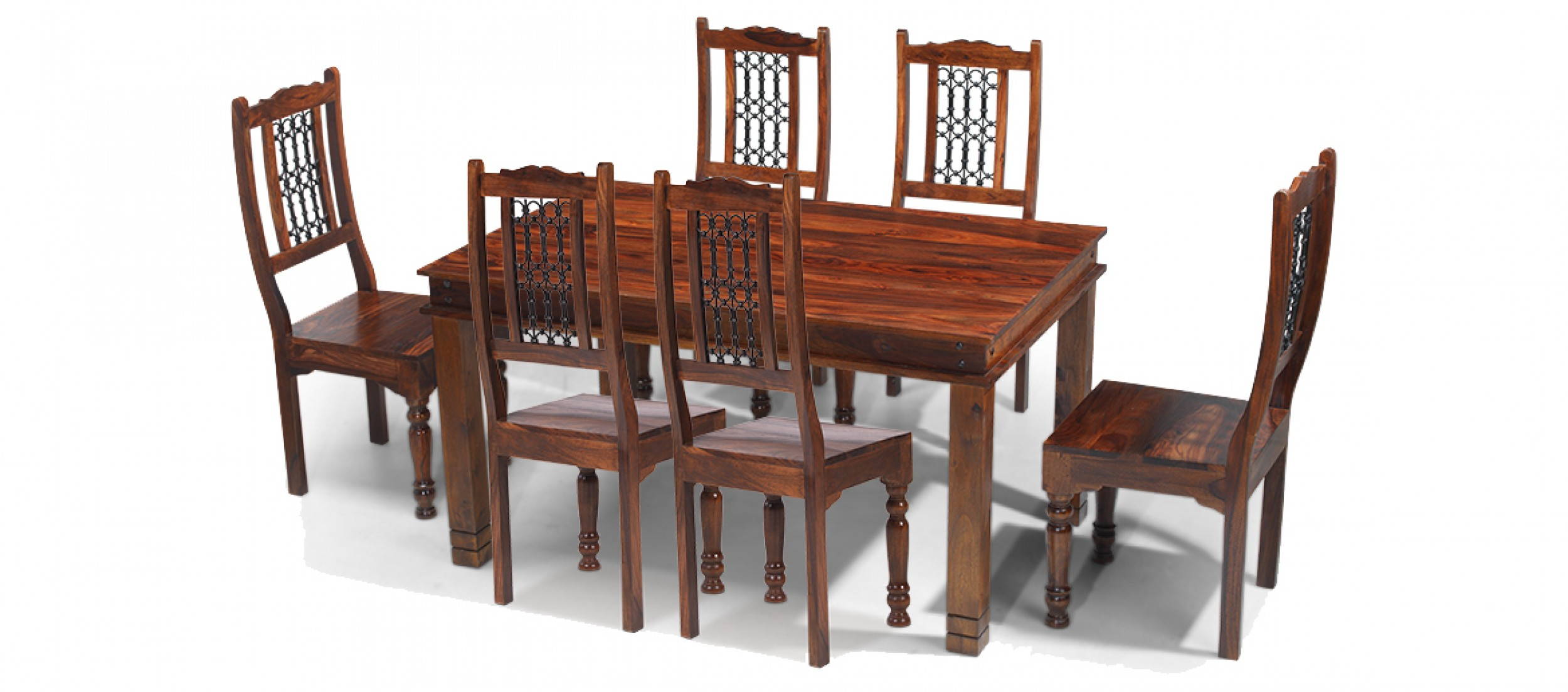 Jali sheesham 160 cm chunky dining table and 6 chairs for Dining table 6 chairs