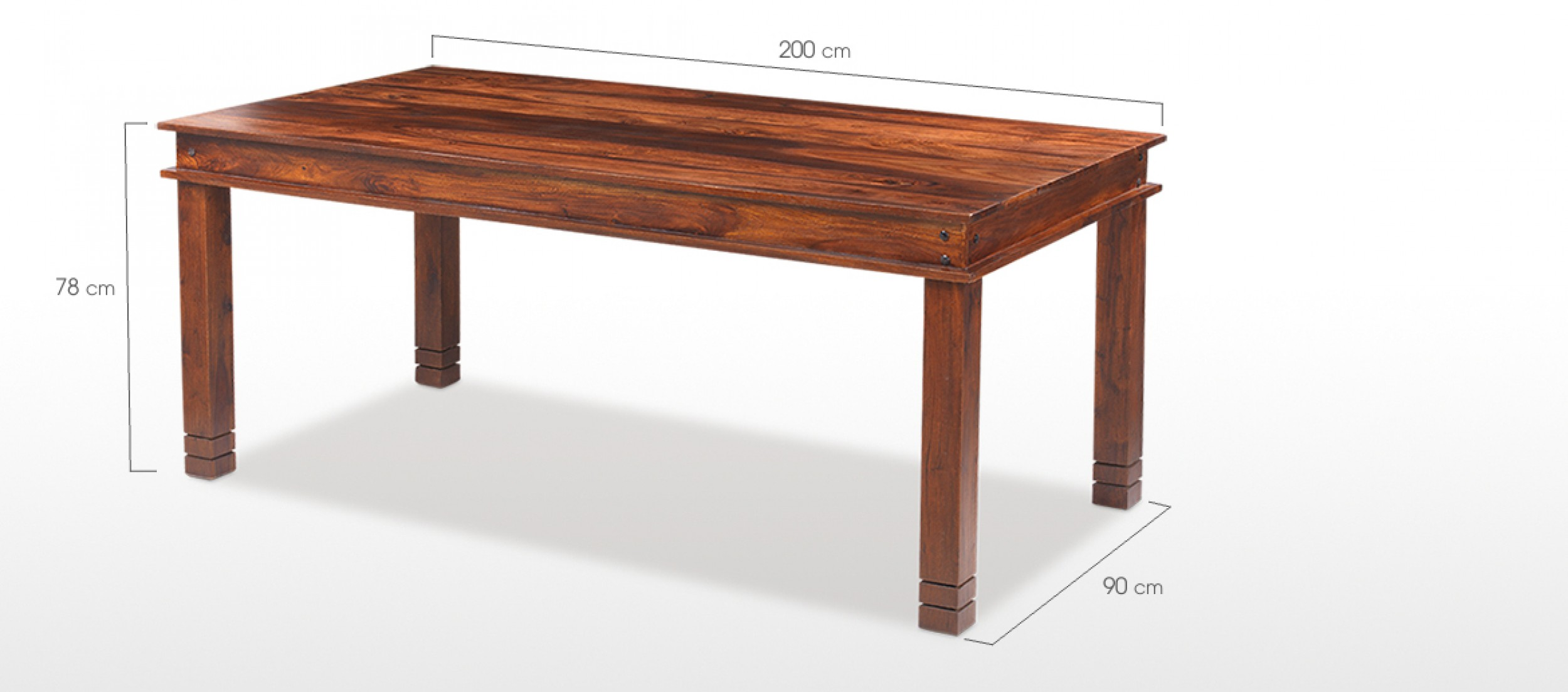 Dining Table For 20 Dimensions: Jali Sheesham 200 Cm Chunky Dining Table And 8 Chairs