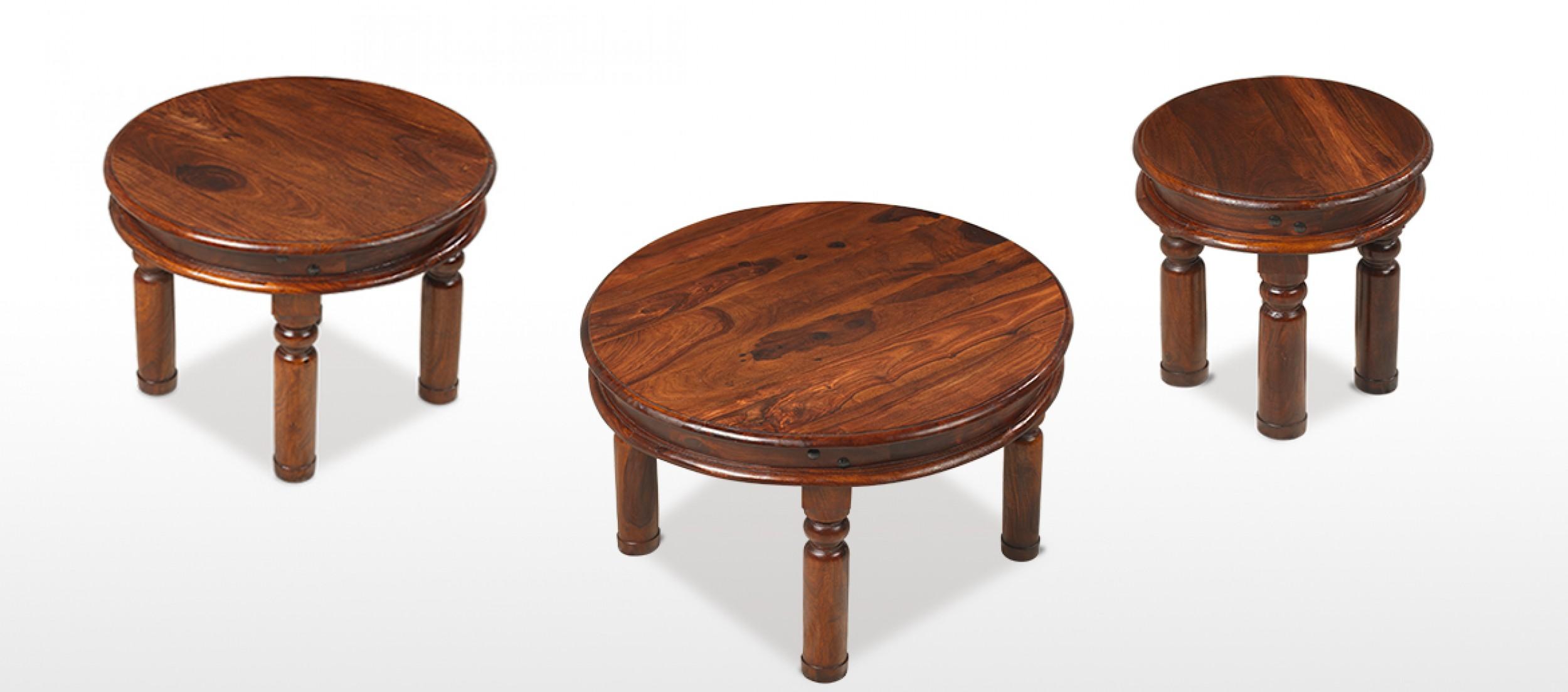Jali Sheesham 70 cm Round Thakat Coffee Table Quercus Living