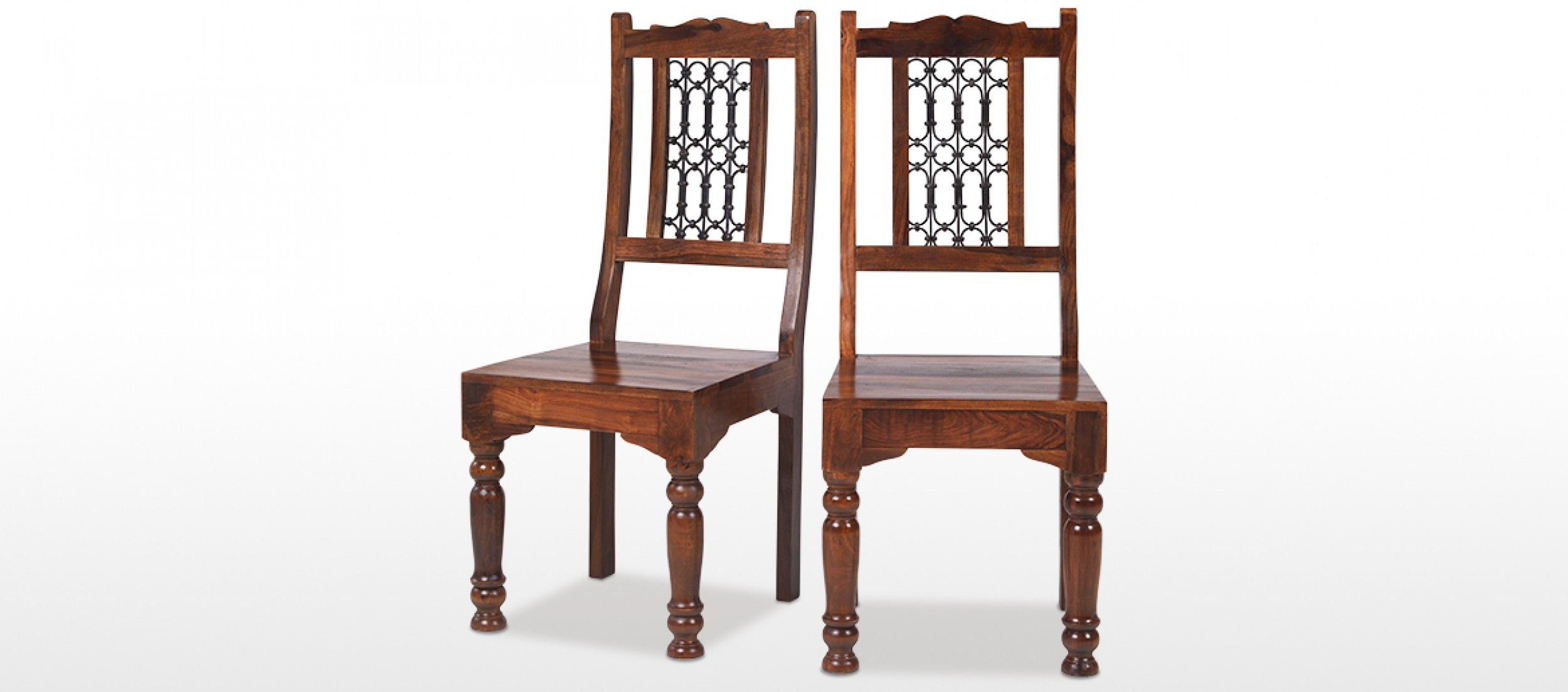 Jali Sheesham Low Back Ironwork Dining Chairs   Pair Part 35
