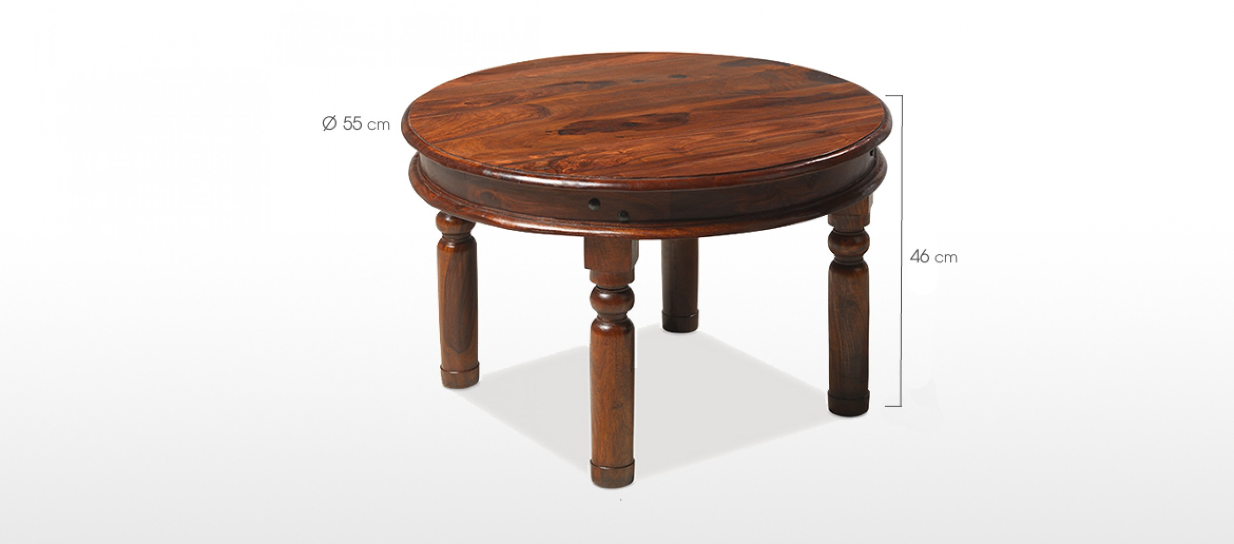 Jali sheesham 55 cm round thakat coffee table quercus living - Dimension table 6 personnes ...