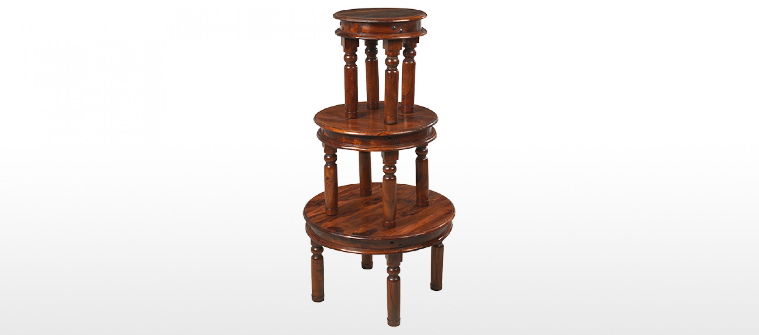 Jali Sheesham 55 cm Round Thakat Coffee Table Quercus Living