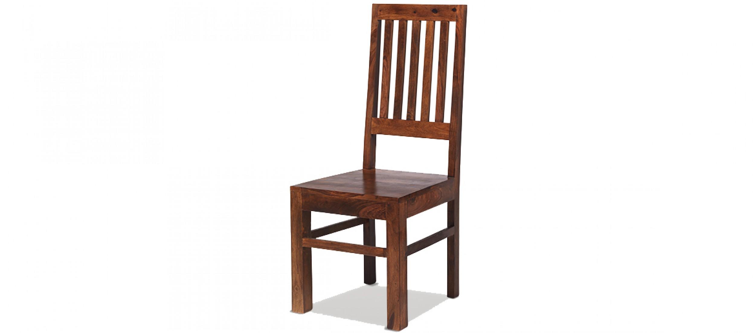 Sheesham high back slat dining chairs pair
