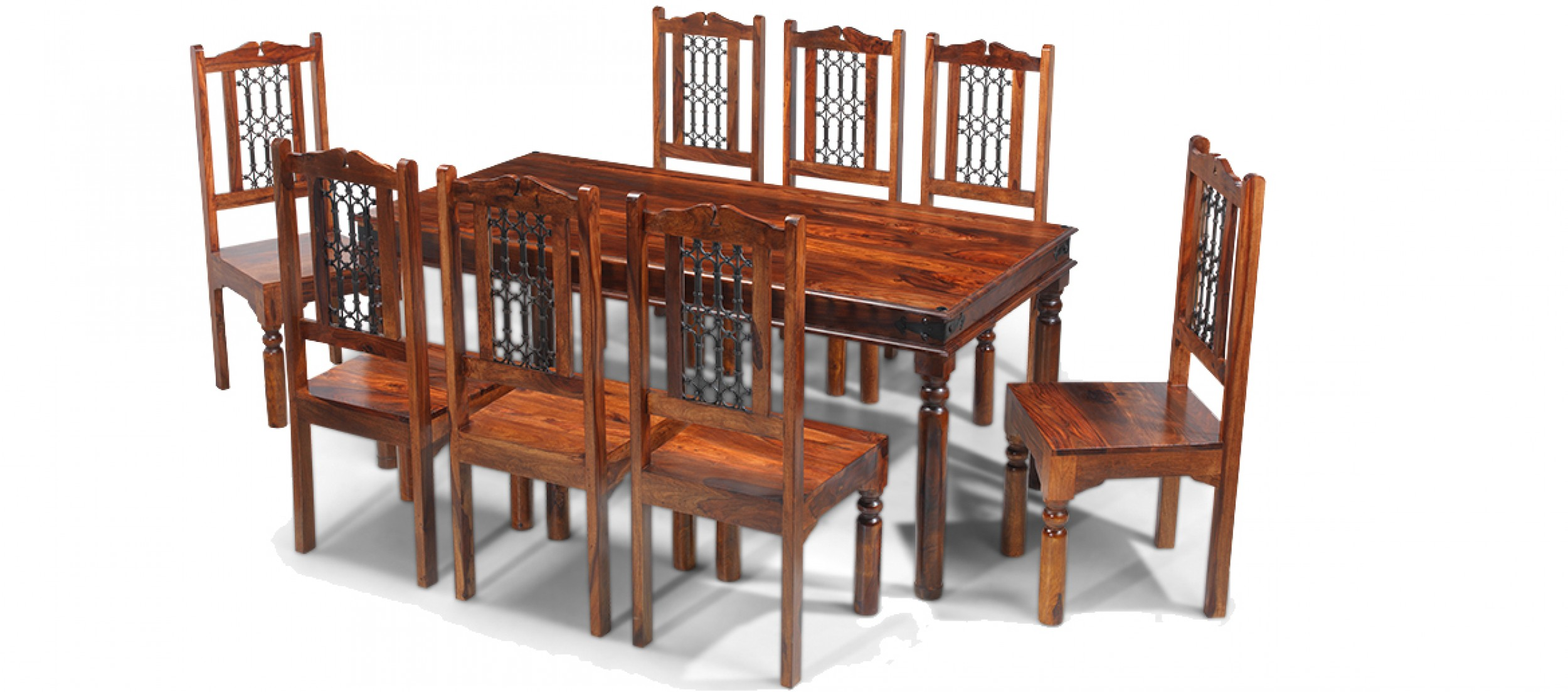 Jali sheesham 200 cm thakat dining table and 8 chairs for Dining table and 8 chairs