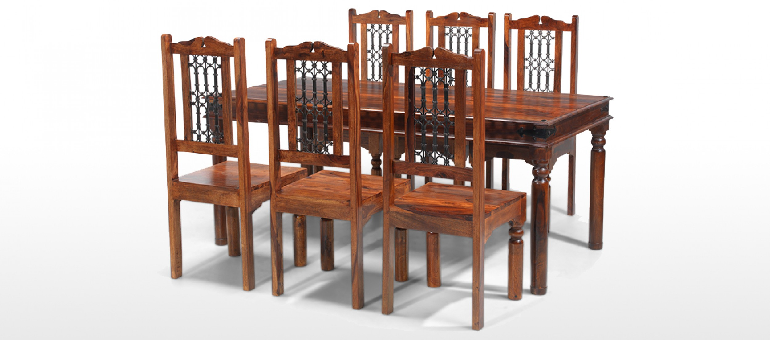 Jali sheesham 180 cm thakat dining table and 6 chairs for Dining table and 6 chairs